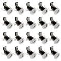 20 Pack of IP20 Fire Rated Recessed Downlighters with LED Bulbs – White