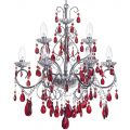 Vara 9 Light Bathroom Chandelier with Red Crystals – Chrome