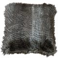 Luxury Striped Faux Fur Cushion – Brown