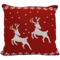 Luxury Knitted Reindeer Christmas Cushion – Red & White