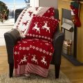 Luxury Knitted Reversible Christmas Throw – Red & White