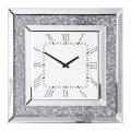 Square Mirrored Classic Face Clock – Chrome