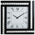 Square Clock with Black Mirrored Glass Frame – Black